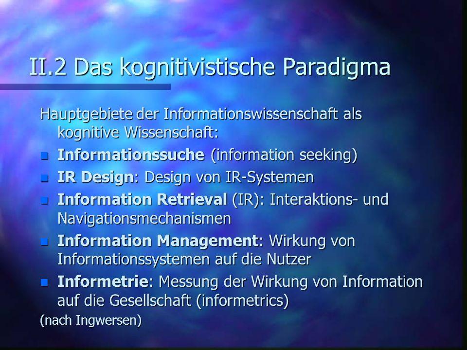 II.2 Das kognitivistische Paradigma Hauptgebiete der Informationswissenschaft als kognitive Wissenschaft: n Informationssuche (information seeking) n