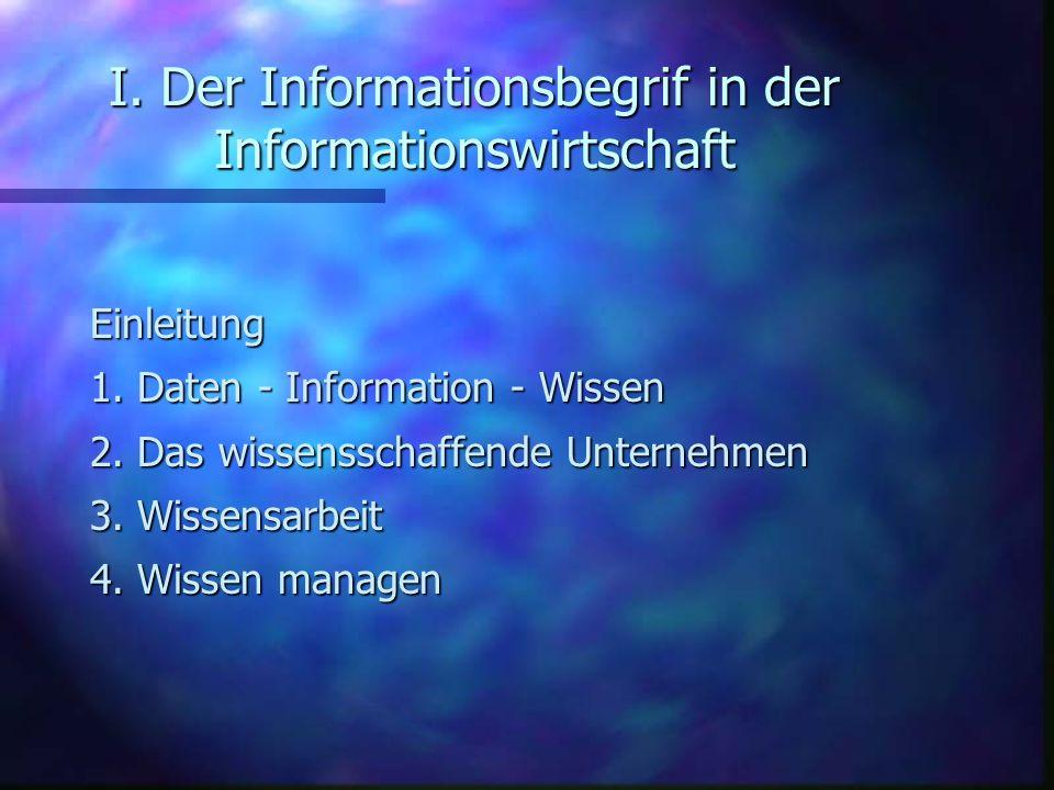I. Der Informationsbegrif in der Informationswirtschaft Einleitung 1. Daten - Information - Wissen 2. Das wissensschaffende Unternehmen 3. Wissensarbe
