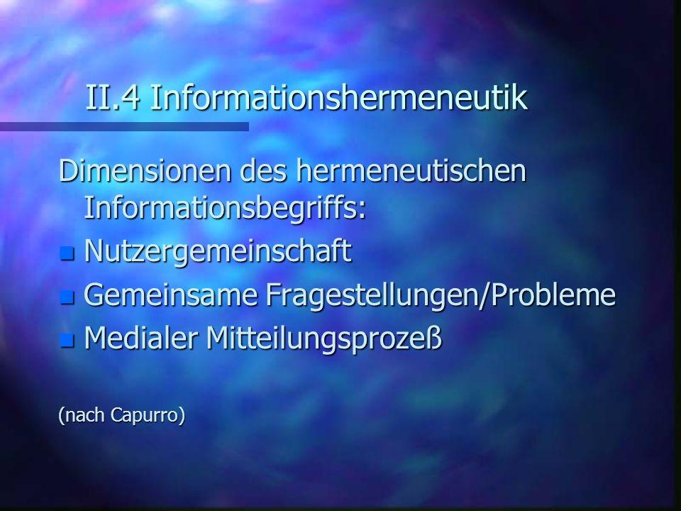 II.4 Informationshermeneutik Dimensionen des hermeneutischen Informationsbegriffs: n Nutzergemeinschaft n Gemeinsame Fragestellungen/Probleme n Medial