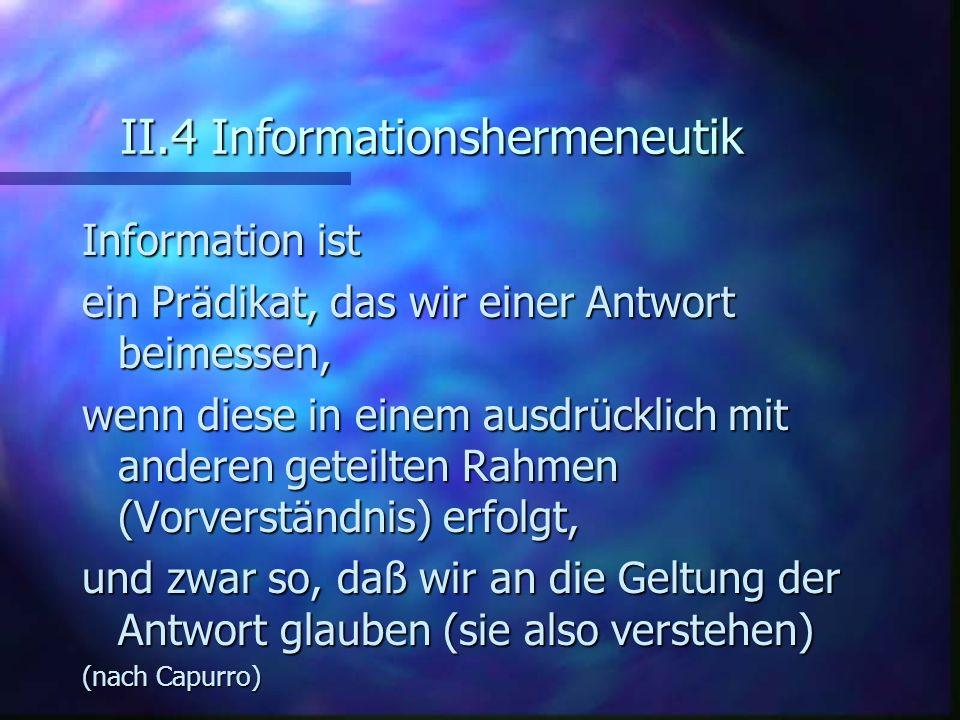 II.4 Informationshermeneutik Information ist ein Prädikat, das wir einer Antwort beimessen, wenn diese in einem ausdrücklich mit anderen geteilten Rah