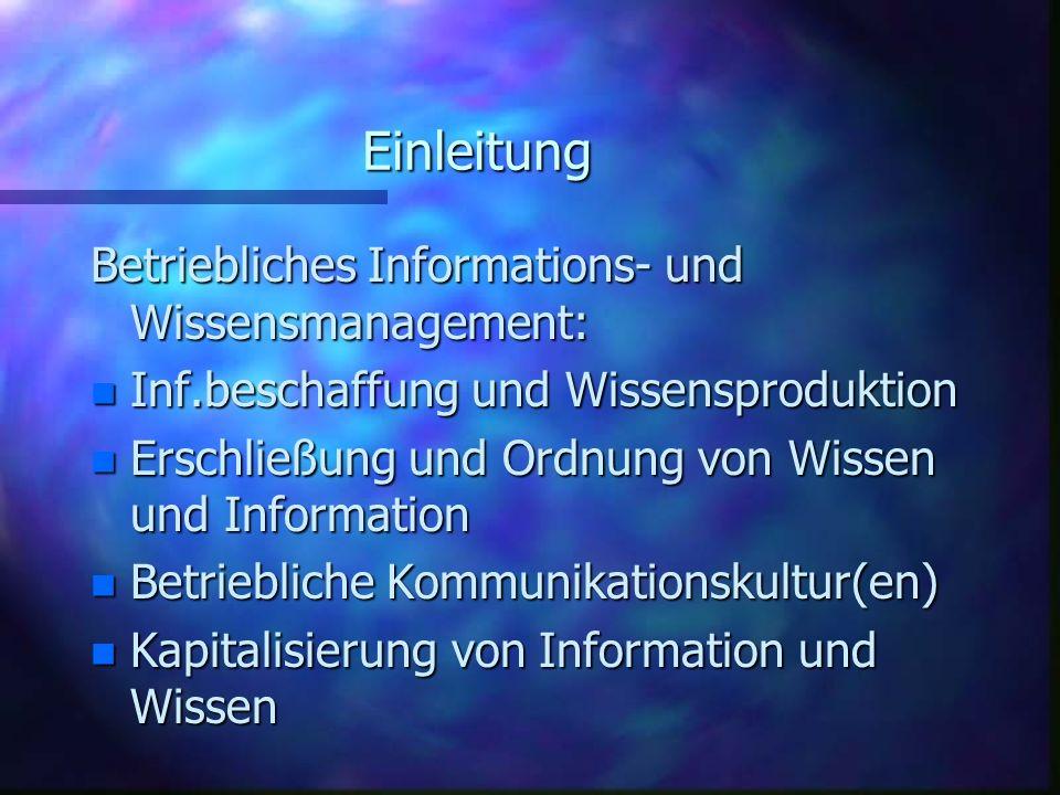 Einleitung Betriebliches Informations- und Wissensmanagement: n Inf.beschaffung und Wissensproduktion n Erschließung und Ordnung von Wissen und Inform