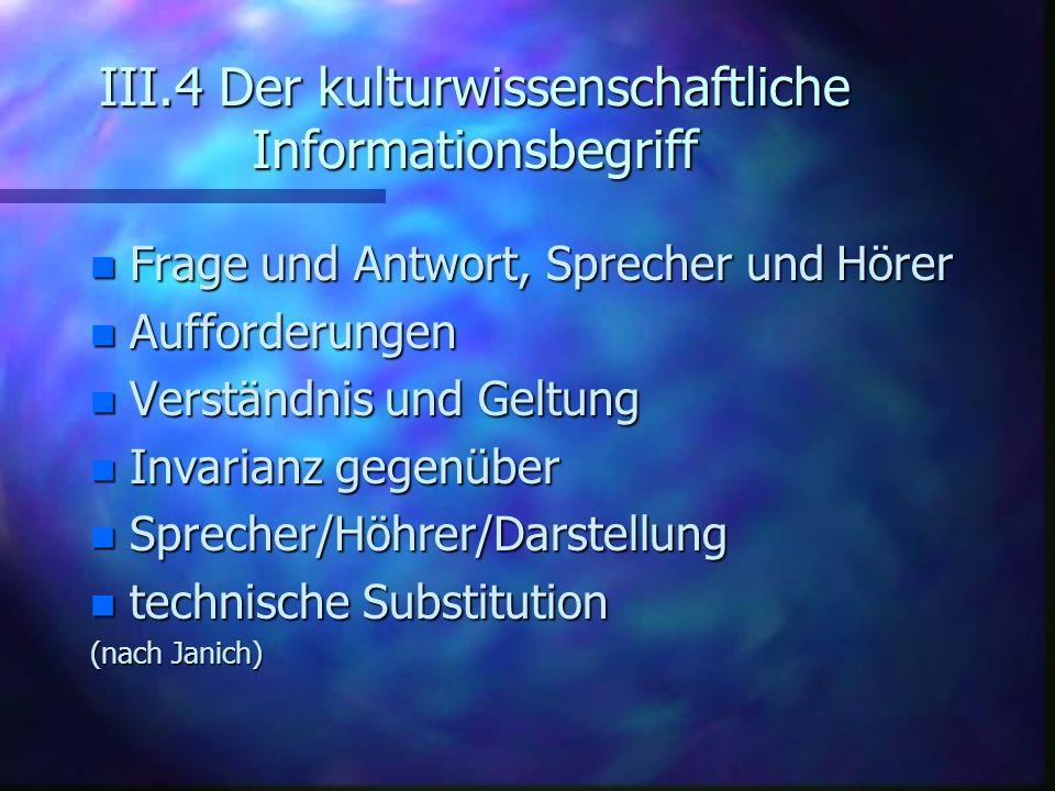III.4 Der kulturwissenschaftliche Informationsbegriff n Frage und Antwort, Sprecher und Hörer n Aufforderungen n Verständnis und Geltung n Invarianz g