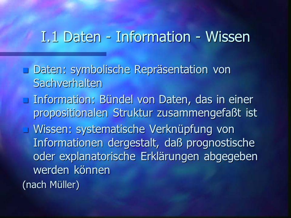 I.1 Daten - Information - Wissen n Daten: symbolische Repräsentation von Sachverhalten n Information: Bündel von Daten, das in einer propositionalen S