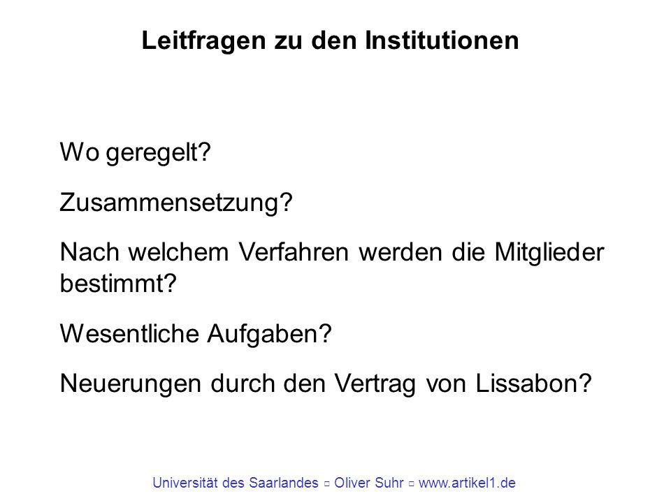 Universität des Saarlandes Oliver Suhr www.artikel1.de Leitfragen zu den Institutionen Wo geregelt? Zusammensetzung? Nach welchem Verfahren werden die