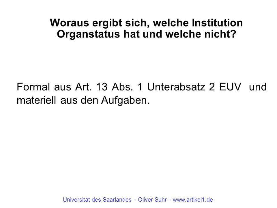 Universität des Saarlandes Oliver Suhr www.artikel1.de Woraus ergibt sich, welche Institution Organstatus hat und welche nicht? Formal aus Art. 13 Abs