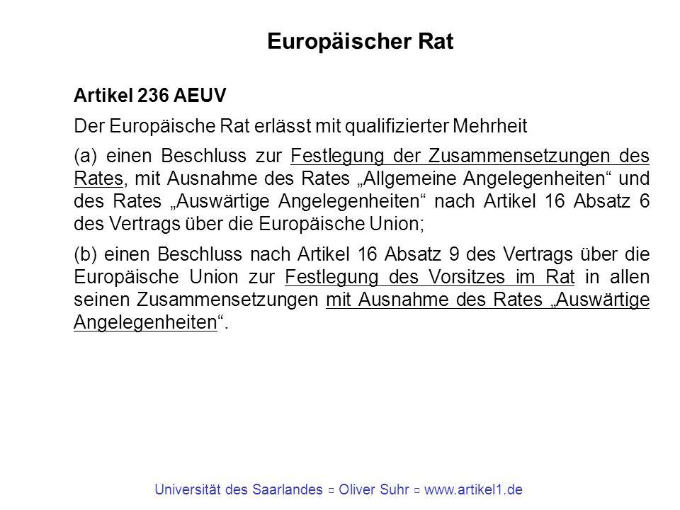 Universität des Saarlandes Oliver Suhr www.artikel1.de Europäischer Rat Artikel 236 AEUV Der Europäische Rat erlässt mit qualifizierter Mehrheit (a) e