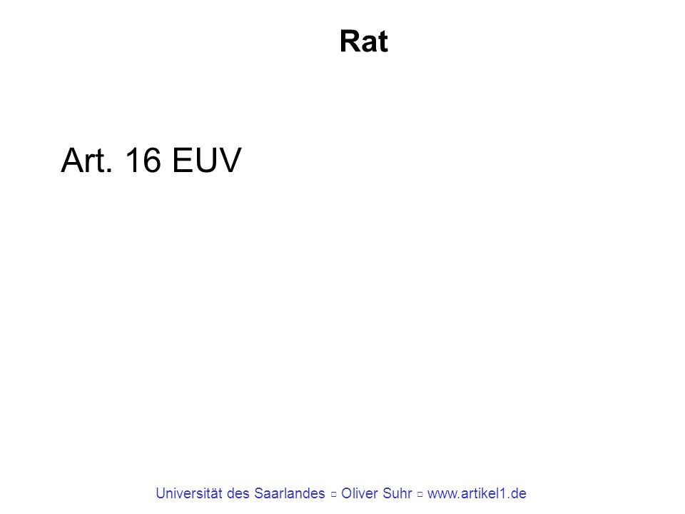 Universität des Saarlandes Oliver Suhr www.artikel1.de Rat Art. 16 EUV