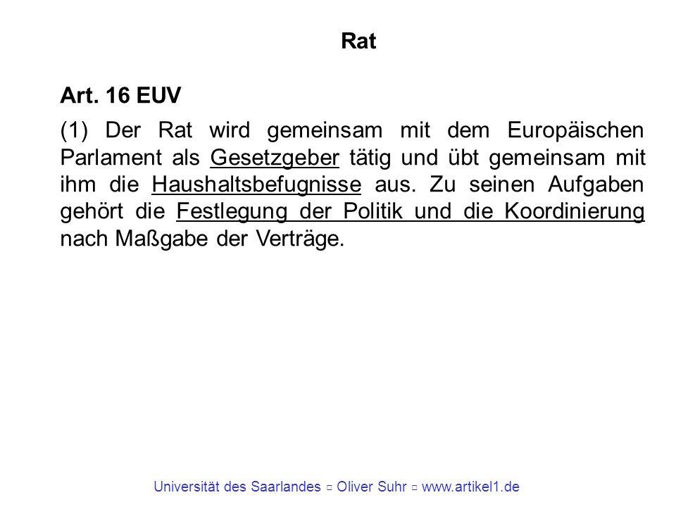 Universität des Saarlandes Oliver Suhr www.artikel1.de Rat Art. 16 EUV (1) Der Rat wird gemeinsam mit dem Europäischen Parlament als Gesetzgeber tätig