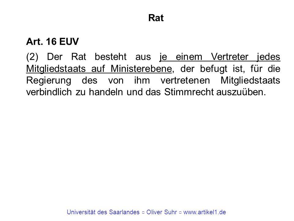Universität des Saarlandes Oliver Suhr www.artikel1.de Rat Art. 16 EUV (2) Der Rat besteht aus je einem Vertreter jedes Mitgliedstaats auf Ministerebe