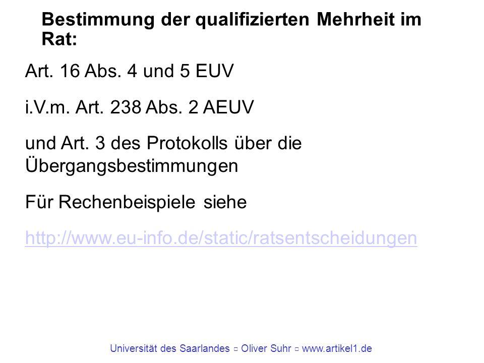 Universität des Saarlandes Oliver Suhr www.artikel1.de Bestimmung der qualifizierten Mehrheit im Rat: Art. 16 Abs. 4 und 5 EUV i.V.m. Art. 238 Abs. 2