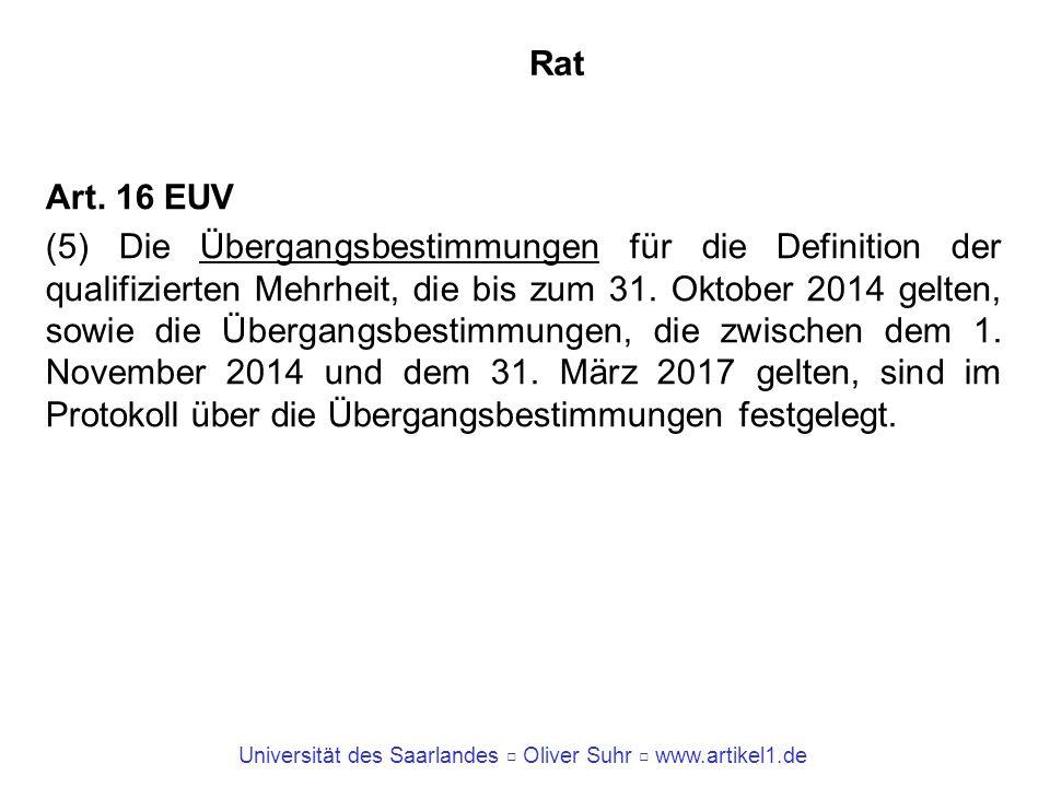 Universität des Saarlandes Oliver Suhr www.artikel1.de Rat Art. 16 EUV (5) Die Übergangsbestimmungen für die Definition der qualifizierten Mehrheit, d