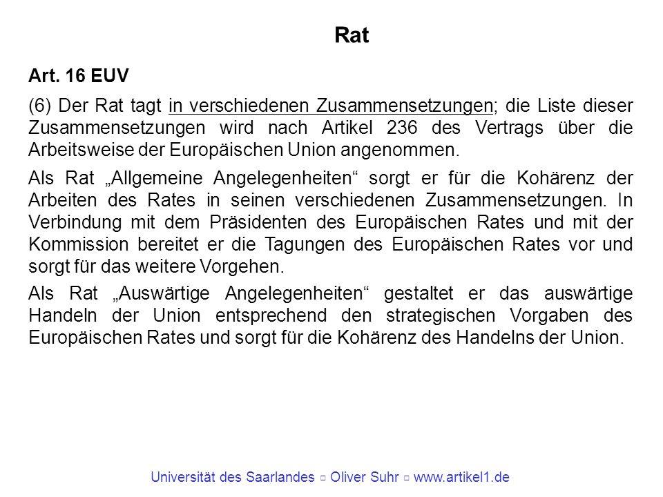 Universität des Saarlandes Oliver Suhr www.artikel1.de Rat Art. 16 EUV (6) Der Rat tagt in verschiedenen Zusammensetzungen; die Liste dieser Zusammens