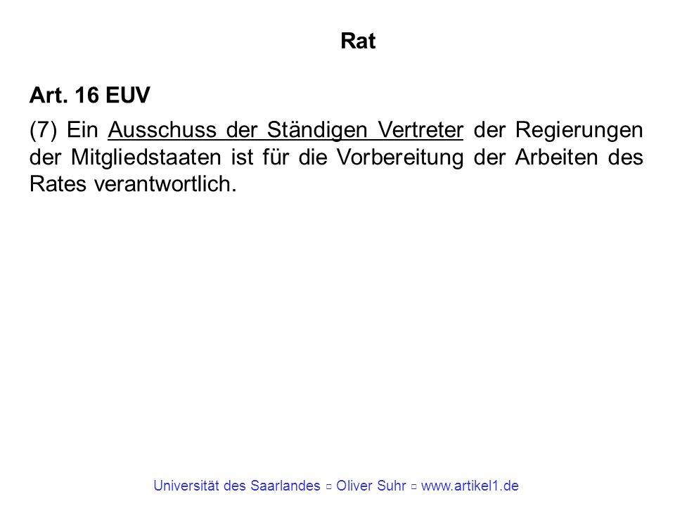 Universität des Saarlandes Oliver Suhr www.artikel1.de Rat Art. 16 EUV (7) Ein Ausschuss der Ständigen Vertreter der Regierungen der Mitgliedstaaten i