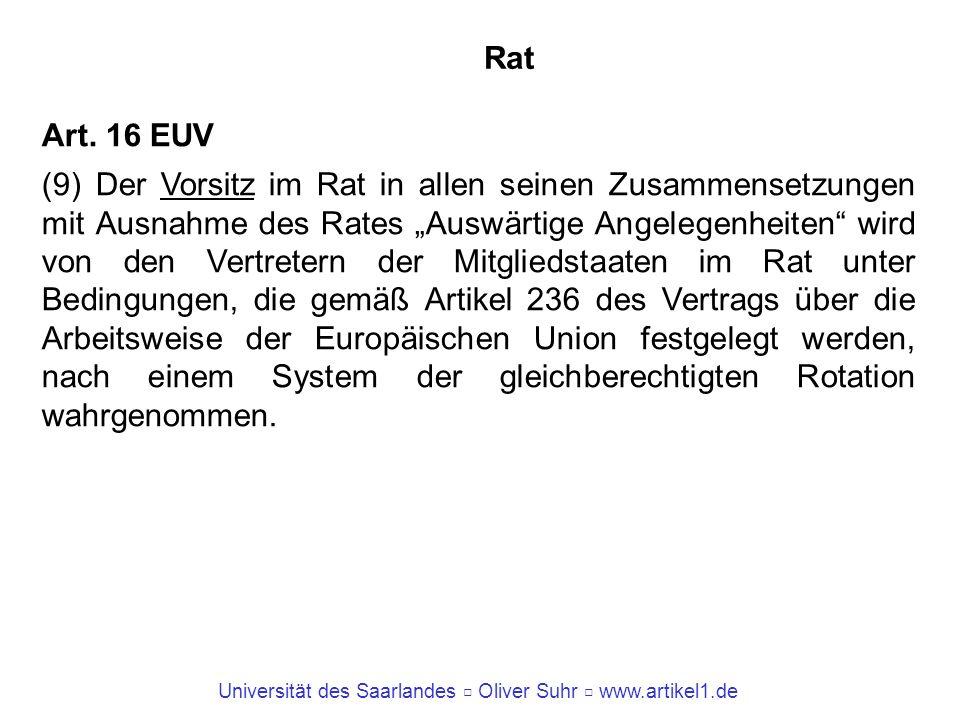 Universität des Saarlandes Oliver Suhr www.artikel1.de Rat Art. 16 EUV (9) Der Vorsitz im Rat in allen seinen Zusammensetzungen mit Ausnahme des Rates
