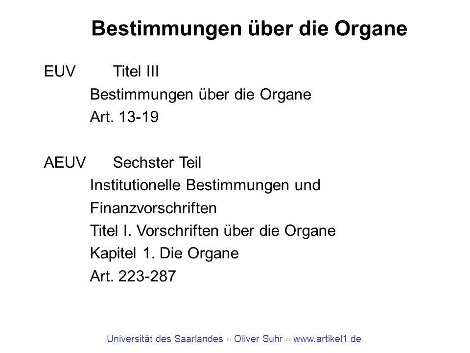 Universität des Saarlandes Oliver Suhr www.artikel1.de Bestimmungen über die Organe EUV Titel III Bestimmungen über die Organe Art. 13-19 AEUV Sechste