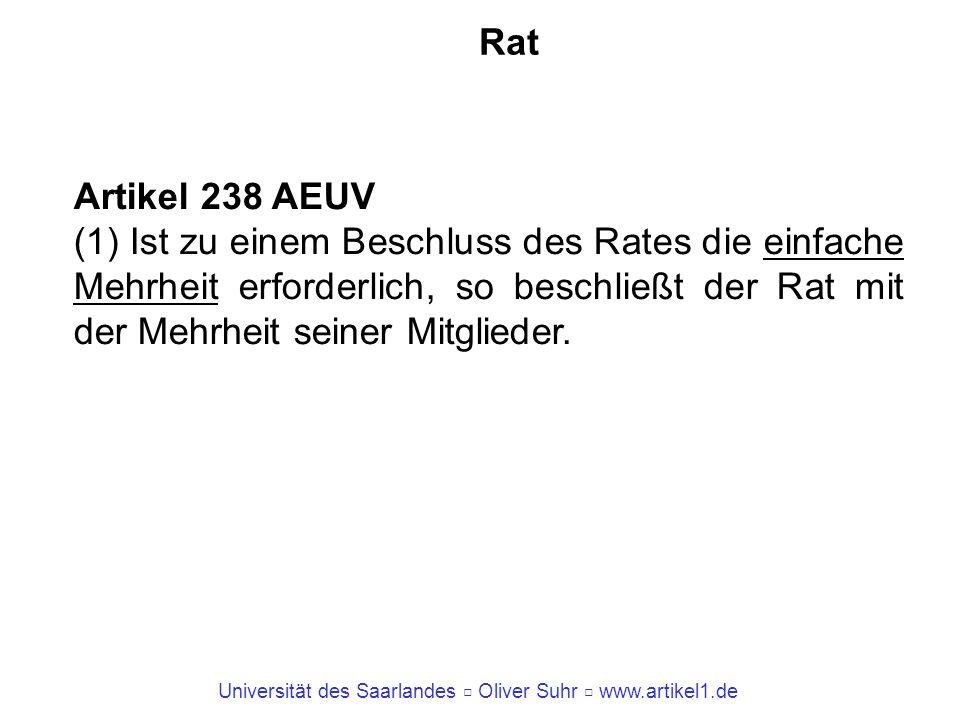 Universität des Saarlandes Oliver Suhr www.artikel1.de Rat Artikel 238 AEUV (1) Ist zu einem Beschluss des Rates die einfache Mehrheit erforderlich, s