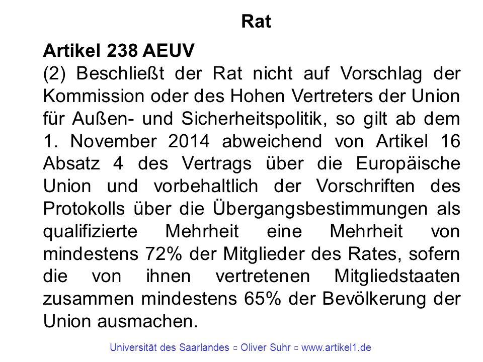 Universität des Saarlandes Oliver Suhr www.artikel1.de Rat Artikel 238 AEUV (2) Beschließt der Rat nicht auf Vorschlag der Kommission oder des Hohen V