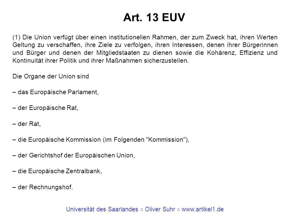 Universität des Saarlandes Oliver Suhr www.artikel1.de Art. 13 EUV (1) Die Union verfügt über einen institutionellen Rahmen, der zum Zweck hat, ihren