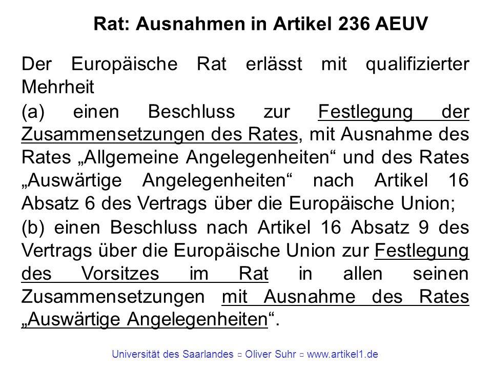Universität des Saarlandes Oliver Suhr www.artikel1.de Rat: Ausnahmen in Artikel 236 AEUV Der Europäische Rat erlässt mit qualifizierter Mehrheit (a)