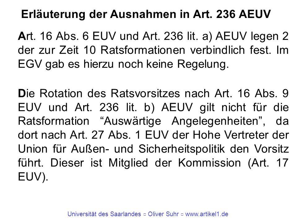 Universität des Saarlandes Oliver Suhr www.artikel1.de Erläuterung der Ausnahmen in Art. 236 AEUV Art. 16 Abs. 6 EUV und Art. 236 lit. a) AEUV legen 2