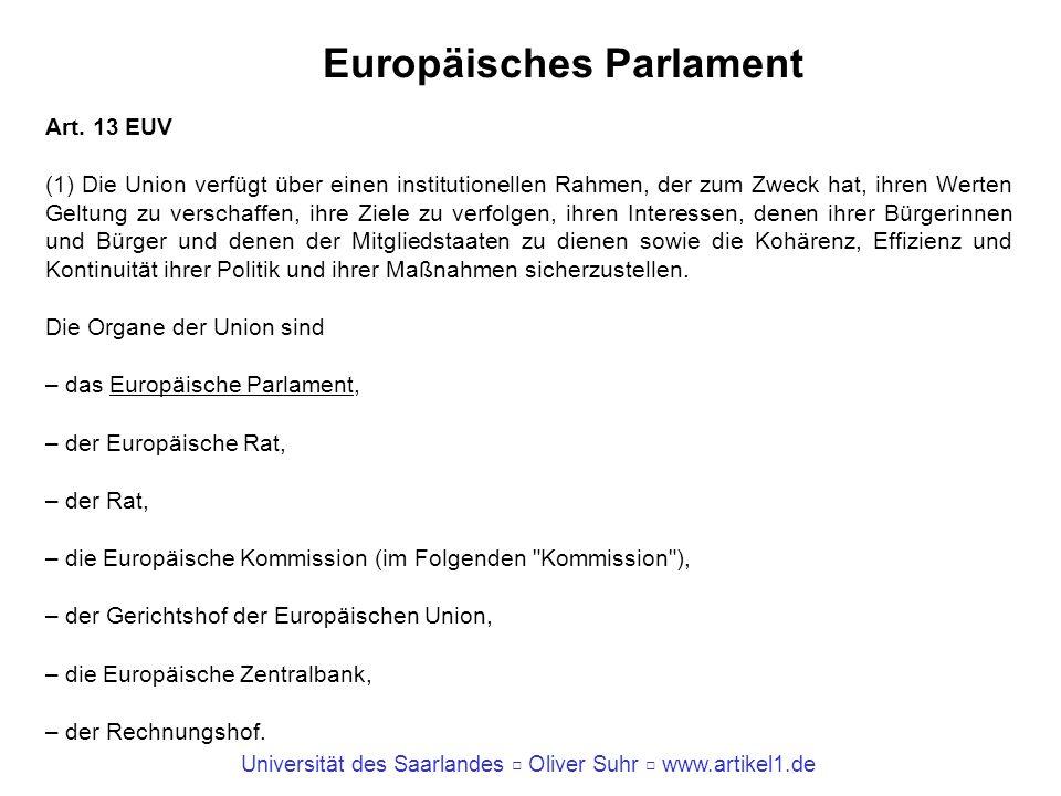 Universität des Saarlandes Oliver Suhr www.artikel1.de Europäisches Parlament Art. 13 EUV (1) Die Union verfügt über einen institutionellen Rahmen, de