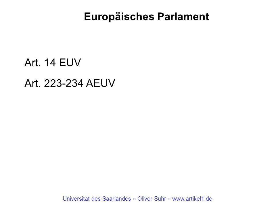 Universität des Saarlandes Oliver Suhr www.artikel1.de Europäisches Parlament Art. 14 EUV Art. 223-234 AEUV