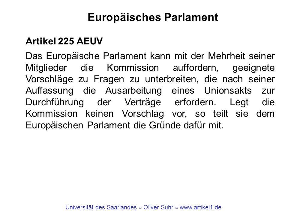 Universität des Saarlandes Oliver Suhr www.artikel1.de Europäisches Parlament Artikel 225 AEUV Das Europäische Parlament kann mit der Mehrheit seiner