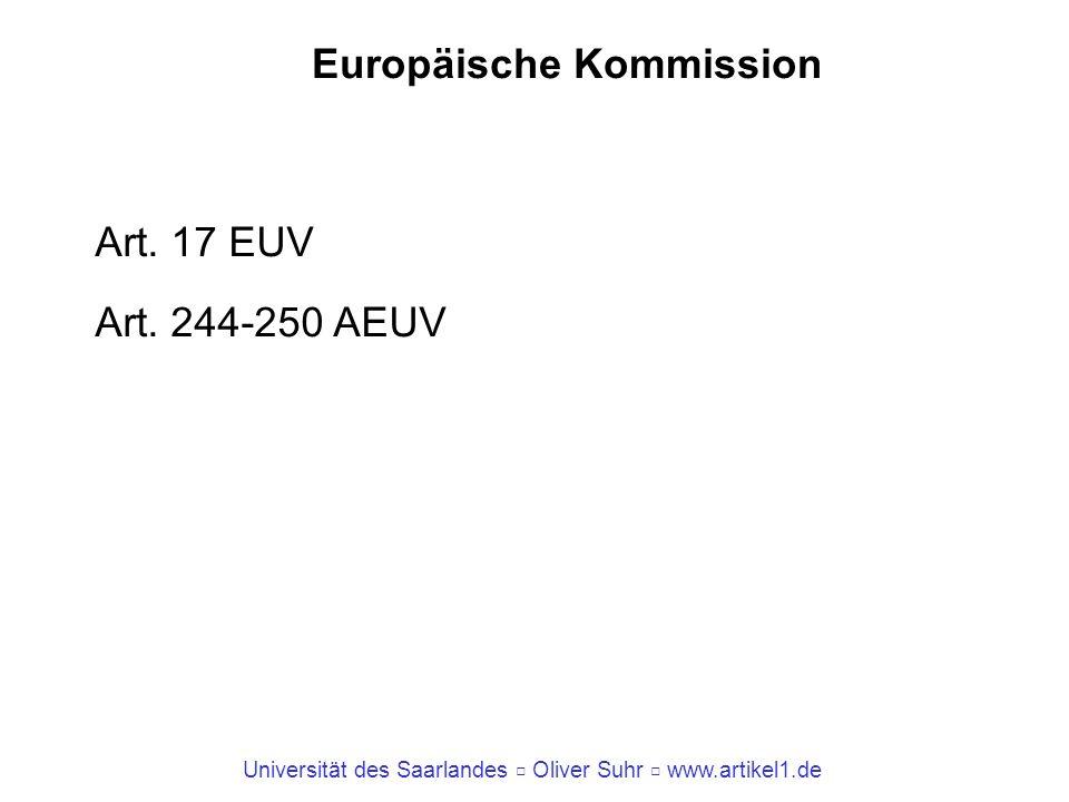 Universität des Saarlandes Oliver Suhr www.artikel1.de Europäische Kommission Art. 17 EUV Art. 244-250 AEUV