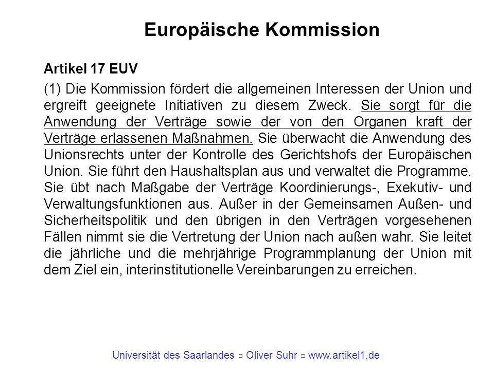 Universität des Saarlandes Oliver Suhr www.artikel1.de Europäische Kommission Artikel 17 EUV (1) Die Kommission fördert die allgemeinen Interessen der