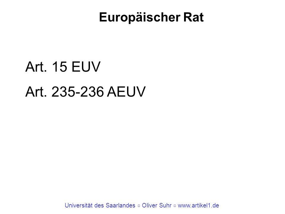 Universität des Saarlandes Oliver Suhr www.artikel1.de Europäischer Rat Art. 15 EUV Art. 235-236 AEUV