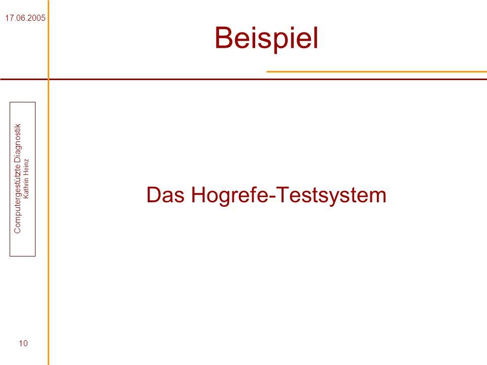 17.06.2005 Computergestützte Diagnostik Kathrin Heinz 10 Beispiel Das Hogrefe-Testsystem
