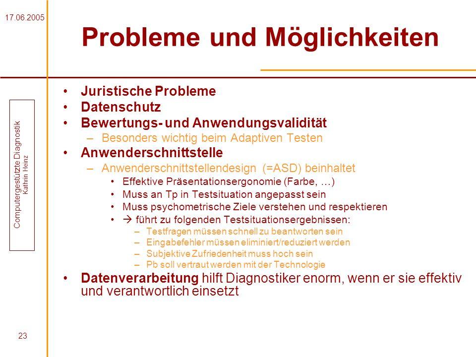 17.06.2005 Computergestützte Diagnostik Kathrin Heinz 23 Probleme und Möglichkeiten Juristische Probleme Datenschutz Bewertungs- und Anwendungsvalidit