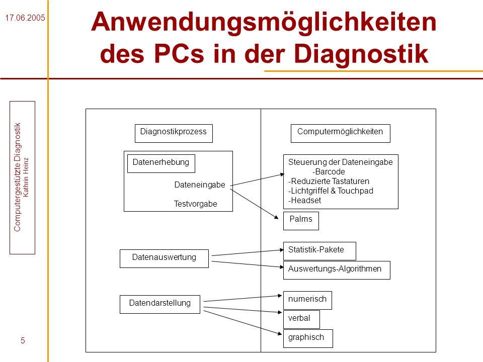 17.06.2005 Computergestützte Diagnostik Kathrin Heinz 5 Anwendungsmöglichkeiten des PCs in der Diagnostik Diagnostikprozess Datenerhebung Dateneingabe