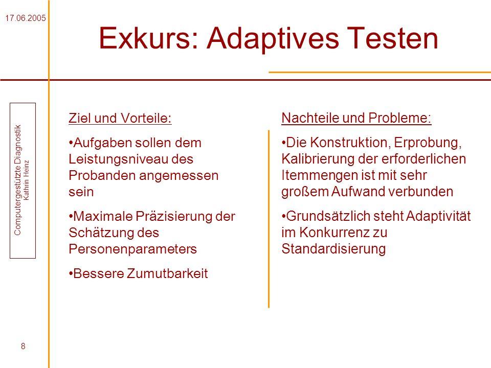 17.06.2005 Computergestützte Diagnostik Kathrin Heinz 8 Exkurs: Adaptives Testen Ziel und Vorteile: Aufgaben sollen dem Leistungsniveau des Probanden