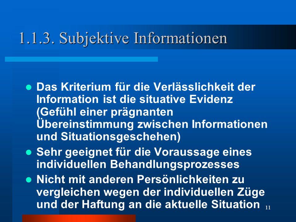11 1.1.3. Subjektive Informationen Das Kriterium für die Verlässlichkeit der Information ist die situative Evidenz (Gefühl einer prägnanten Übereinsti