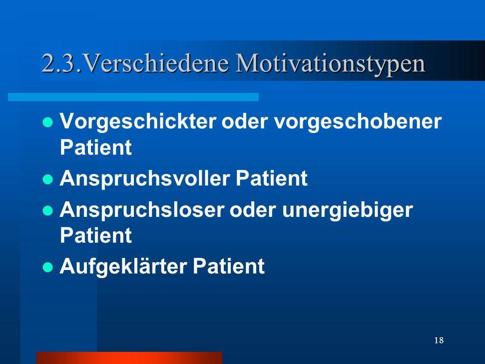 18 2.3.Verschiedene Motivationstypen Vorgeschickter oder vorgeschobener Patient Anspruchsvoller Patient Anspruchsloser oder unergiebiger Patient Aufge