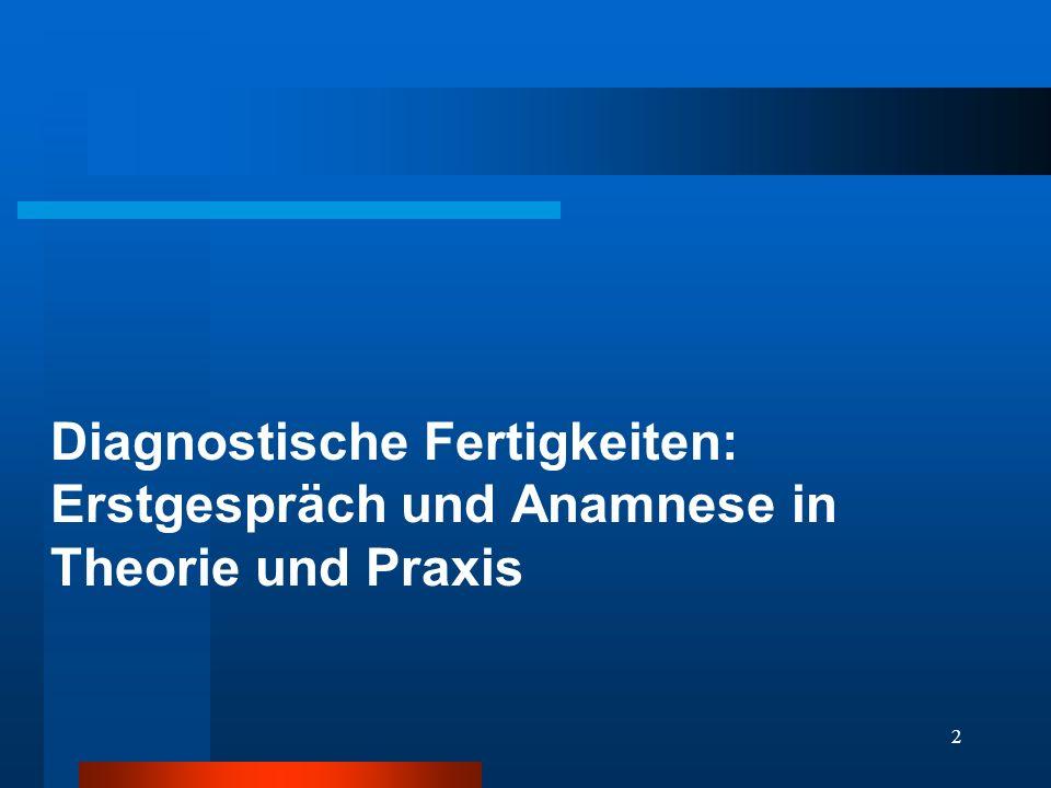 2 Diagnostische Fertigkeiten: Erstgespräch und Anamnese in Theorie und Praxis