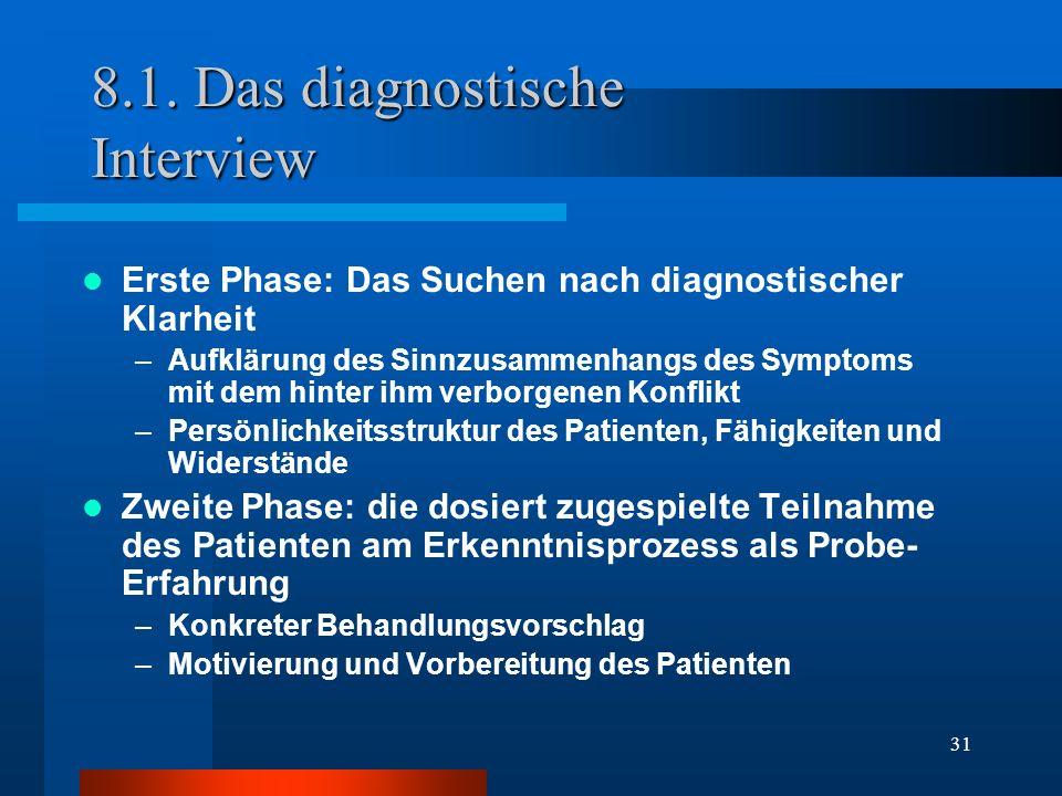 31 8.1. Das diagnostische Interview Erste Phase: Das Suchen nach diagnostischer Klarheit –Aufklärung des Sinnzusammenhangs des Symptoms mit dem hinter