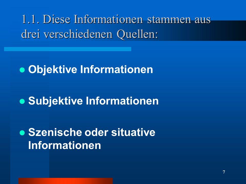 7 1.1. Diese Informationen stammen aus drei verschiedenen Quellen: Objektive Informationen Subjektive Informationen Szenische oder situative Informati
