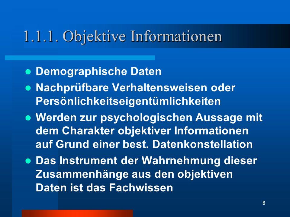 8 1.1.1. Objektive Informationen Demographische Daten Nachprüfbare Verhaltensweisen oder Persönlichkeitseigentümlichkeiten Werden zur psychologischen