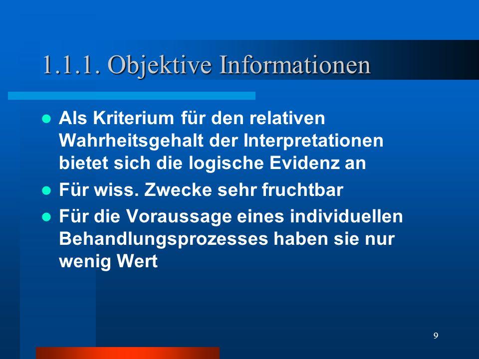 9 1.1.1. Objektive Informationen Als Kriterium für den relativen Wahrheitsgehalt der Interpretationen bietet sich die logische Evidenz an Für wiss. Zw