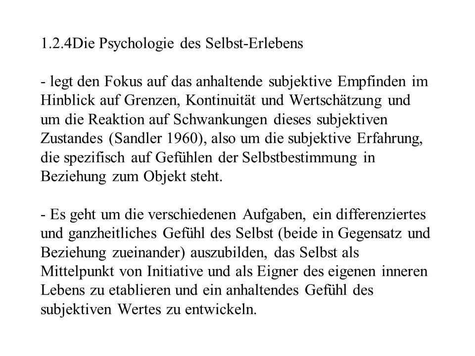 1.2.4Die Psychologie des Selbst-Erlebens - legt den Fokus auf das anhaltende subjektive Empfinden im Hinblick auf Grenzen, Kontinuität und Wertschätzu
