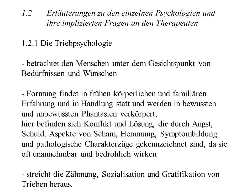1.2 Erläuterungen zu den einzelnen Psychologien und ihre implizierten Fragen an den Therapeuten 1.2.1 Die Triebpsychologie - betrachtet den Menschen u