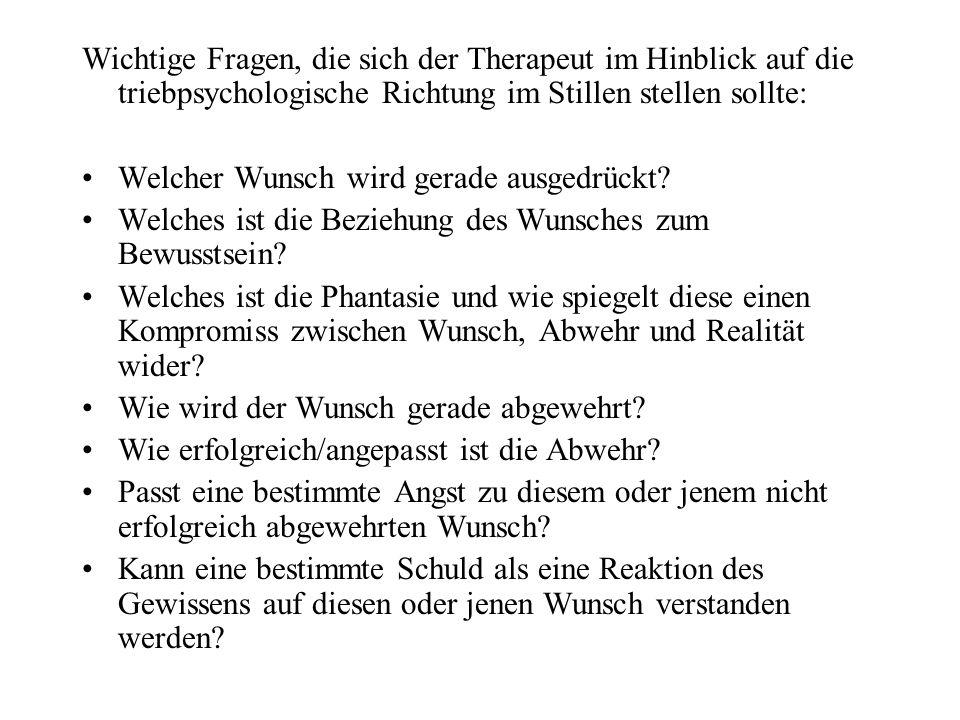 Wichtige Fragen, die sich der Therapeut im Hinblick auf die triebpsychologische Richtung im Stillen stellen sollte: Welcher Wunsch wird gerade ausgedr