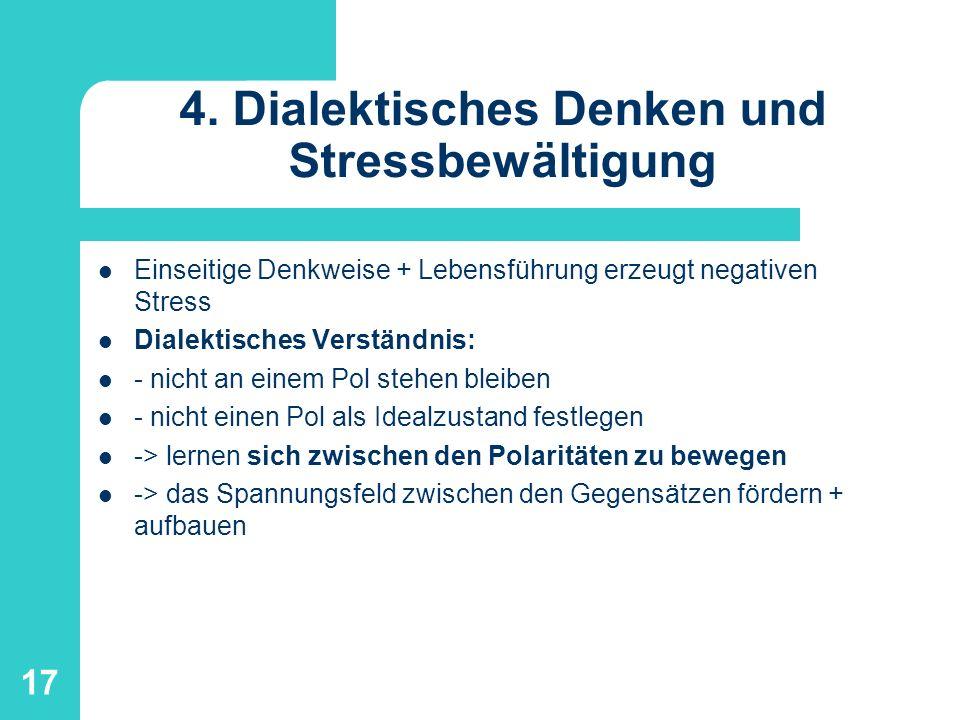 17 4. Dialektisches Denken und Stressbewältigung Einseitige Denkweise + Lebensführung erzeugt negativen Stress Dialektisches Verständnis: - nicht an e