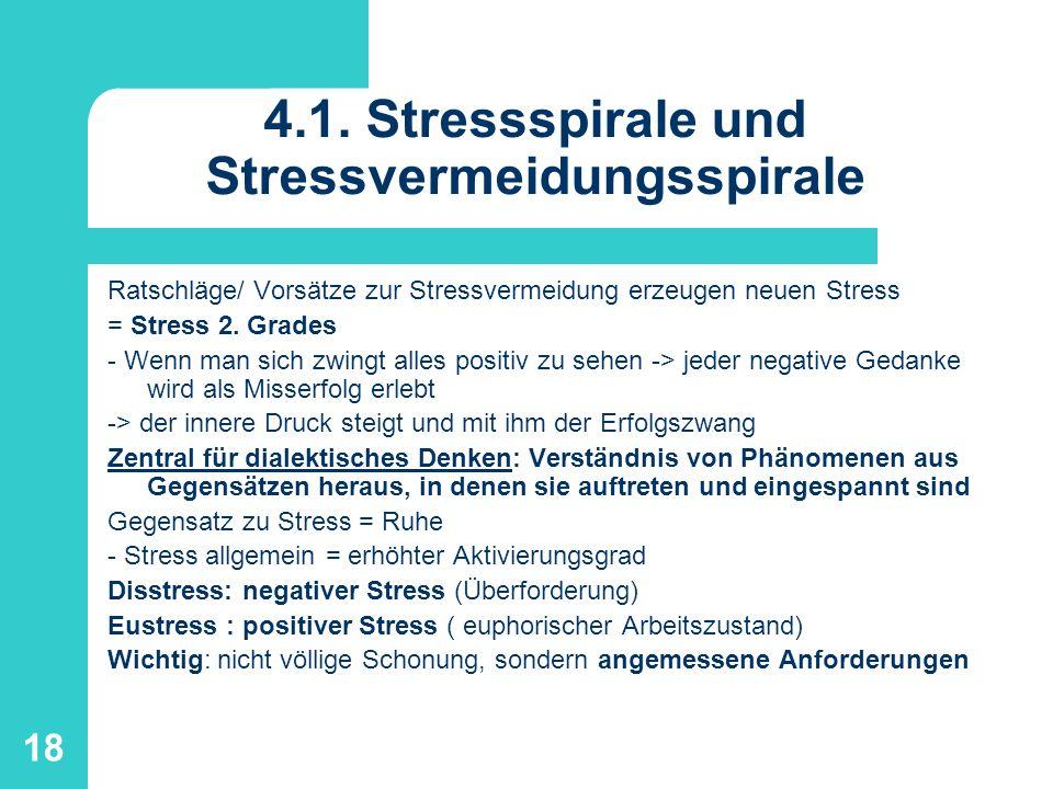 18 4.1. Stressspirale und Stressvermeidungsspirale Ratschläge/ Vorsätze zur Stressvermeidung erzeugen neuen Stress = Stress 2. Grades - Wenn man sich