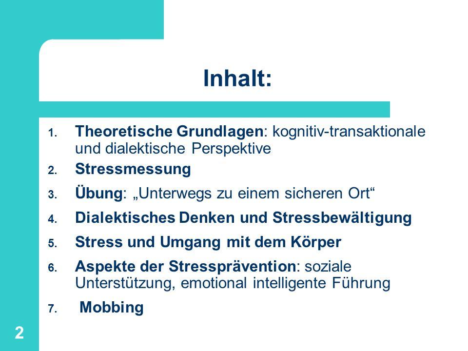 2 Inhalt: 1. Theoretische Grundlagen: kognitiv-transaktionale und dialektische Perspektive 2. Stressmessung 3. Übung: Unterwegs zu einem sicheren Ort
