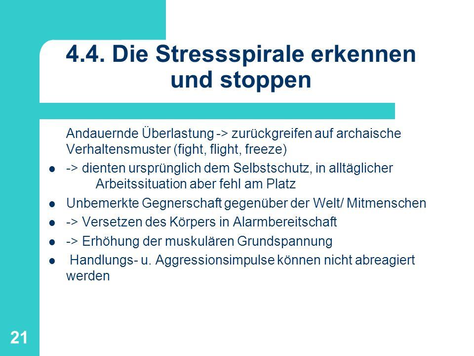 21 4.4. Die Stressspirale erkennen und stoppen Andauernde Überlastung -> zurückgreifen auf archaische Verhaltensmuster (fight, flight, freeze) -> dien