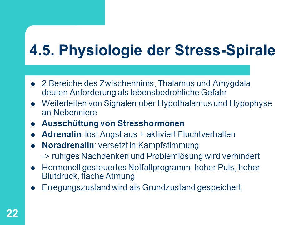 22 4.5. Physiologie der Stress-Spirale 2 Bereiche des Zwischenhirns, Thalamus und Amygdala deuten Anforderung als lebensbedrohliche Gefahr Weiterleite