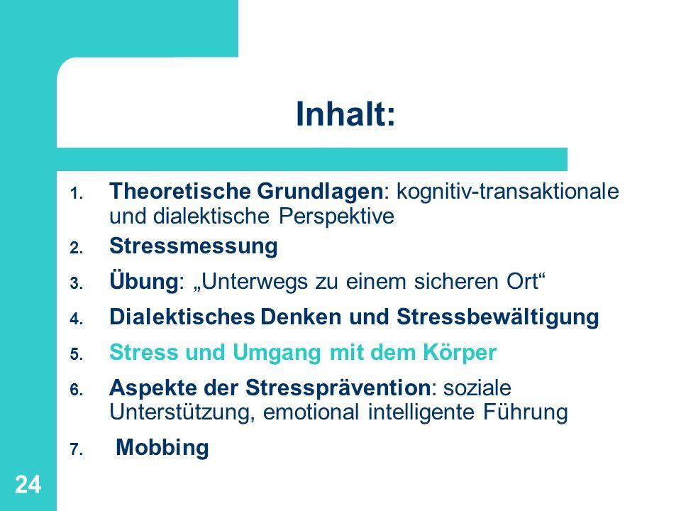 24 Inhalt: 1. Theoretische Grundlagen: kognitiv-transaktionale und dialektische Perspektive 2. Stressmessung 3. Übung: Unterwegs zu einem sicheren Ort